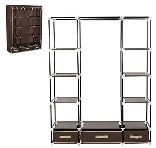 WOLTU Portable Clothes Closet Utility Wardrobe Storage Rod Organizer Fabric 12 Shelves with 3 drawer Coffee