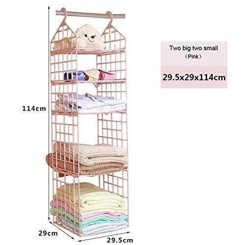 LEIZENG 4-Layer Hanging Wardrobe Storage Rack House Hanging Clothes Holder Rack Organizer Pink