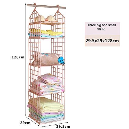 LEIZENG 4-Layer Hanging Wardrobe Storage Rack House Hanging Clothes Holder Rack Pink
