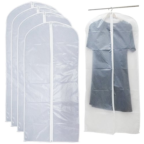 PEVA Garment Bags Clothes Zippered Hanging Suit Cover Closet Storage See Through Bag for Organize Shirts Jacket Clothing Wardrobe Washable Dustproof White 4 Count Size L