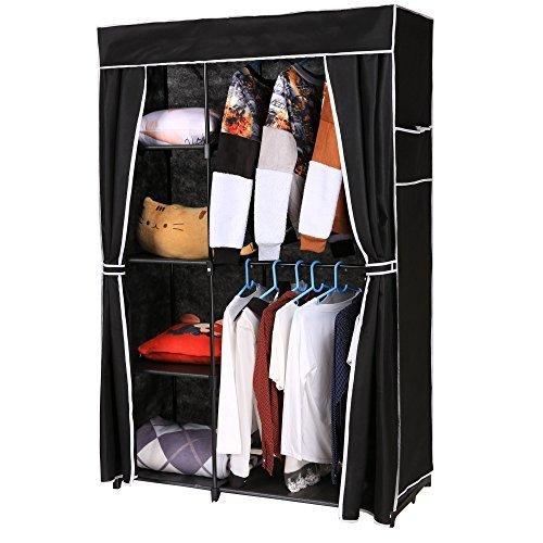 Homdox Portable Clothes Closet Wardrobe Storage Organizer with Non-woven Curtain Black Tube Black Cloth