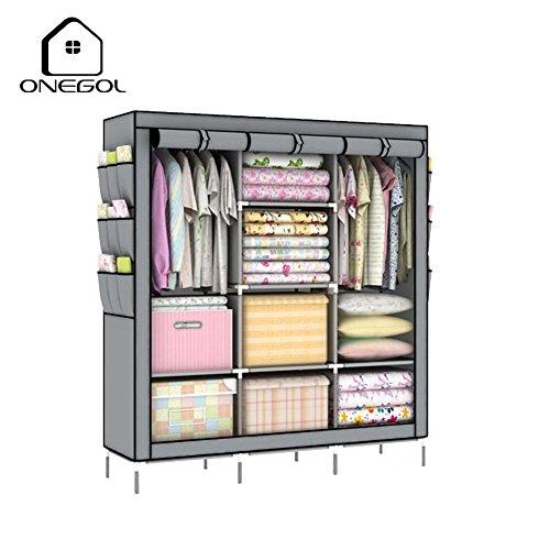 ONEGOL Portable Clothes Closet Non-woven Fabric Wardrobe Double Rod Storage Organizer with Shelves Grey