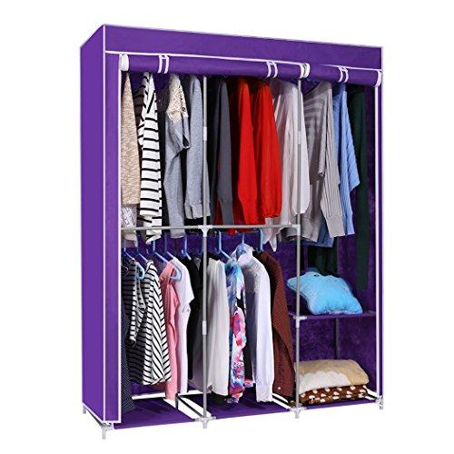 Oanon Home DIY Portable Closet Storage Organizer Wardrobe Clothes Rack With Hanger Dark Purple