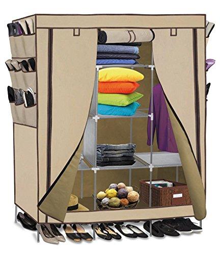 Smart-Home 69 Portable Closet Storage Organizer Clothes Wardrobe With Shoes Rack Shelves Beige 69 L x 51 W x 175 D