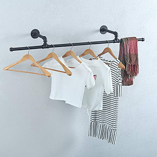 Womio Industrial Modern Black Pipe Wall Mounted Clothing Rack Laundry Room Metal Clothing RodsHanging RackCommercial Clothes Decor Display RacksGarment RacksBar51