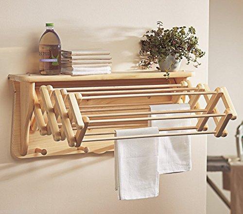 Generic LQ8LQ3304LQ Wardro Wall Folding ndry Ra Drying Shelf Wardrobe l F Mount Hanger ng Moun Wooden Laundry Rack Cloths Stan Cloths Stand US6-LQ-16Apr15-2001