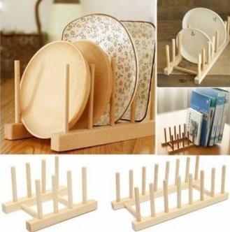 Wooden Dish Plate Storage Holders Folding Racks Drying Shelf Small by Lovestore2555