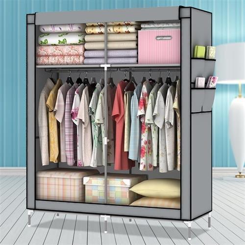 Amanda Home 10140H Portable Clothes Closet Wardrobe Fabric Clothes Storage Organizer Blue - 69 x 43 x 18in Grey