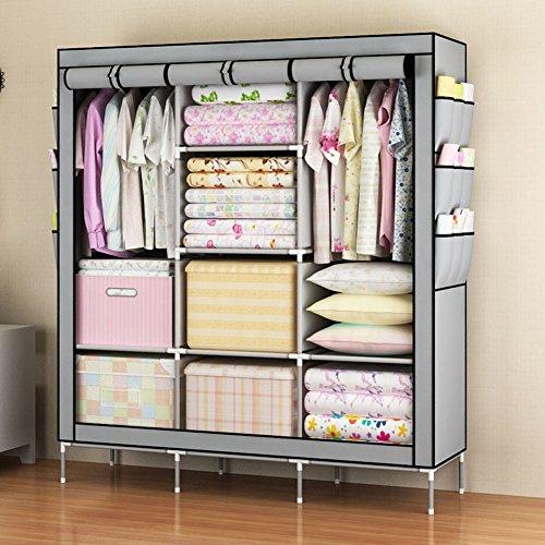 KALRI Portable Clothes Closet Non-woven Fabric Wardrobe Double Rod Storage Organizer gray