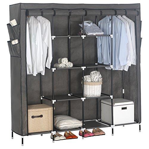 WOLTU Portable Clothes Closet Wardrobe with 12 Side Pockets Clothes Storage Cloth Organizer Steel Shoe Rack 10 Shelves Grey