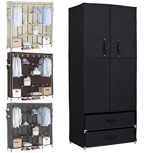 WOLTU Portable Clothes Closet Wardrobe with 2 drawer Clothes Storage with Heavy Duty Doors Cloth Organizer Steel Shoe Rack Black
