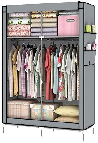 YOUUD DIY Assambled Portable Clothes Closet Wardrobe Fabric Clothes Storage Organizer Gray