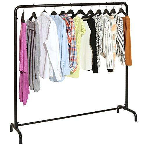 Freestanding Black Metal Clothes Rack  Clothing Storage Organizer  Modern Garment Hanger Stand -MyGift