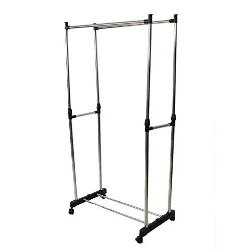 Portonec Garment Rack with Wheels - Adjustable Double Metal Hanger - Portable Clothes Rack