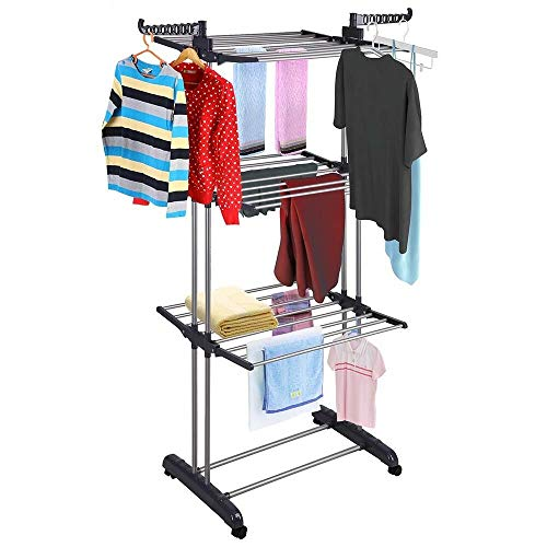 Cypressshop Clothes Drying Rack 3 Tiers Folding Clothes Dryer Garment Hanger Rack Portable Airer Hanging Shelf Durable Indoor Outdoor Rail Drying Laundry Hangers Household Home Furniture