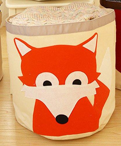 Amigo Global Premium Cartoon Foldable Cotton Line Laundry Basket Folding Children Toys Organizer Storage Basket Clothes Holder - Fox