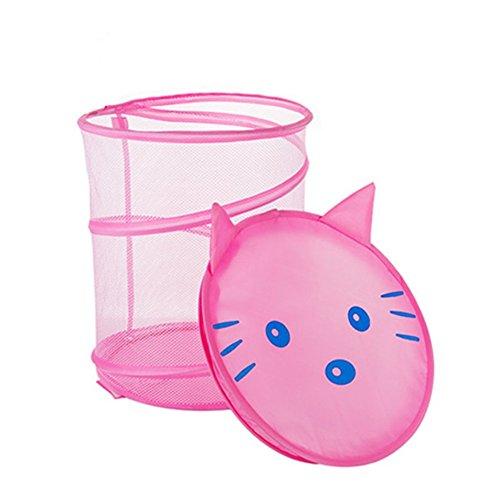 Moolecole Cute Cartoon Foldable Mesh Laundry Basket Folding Children Toys Storage Basket Tidy Clothes Holder Cat