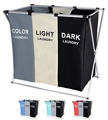 BRIGHTSHOW 135L Laundry Cloth Hamper Sorter Basket Bin Foldable 3 Sections with Aluminum Frame 62cm × 37cm x 58cm Washing Storage Dirty Clothes Bag for Bathroom Bedroom Home WhiteGreyBlack