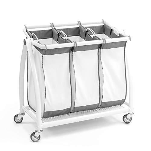 Seville Classics Premium 3-Bag Heavy-Duty Tilt Laundry Hamper Sorter Cart White