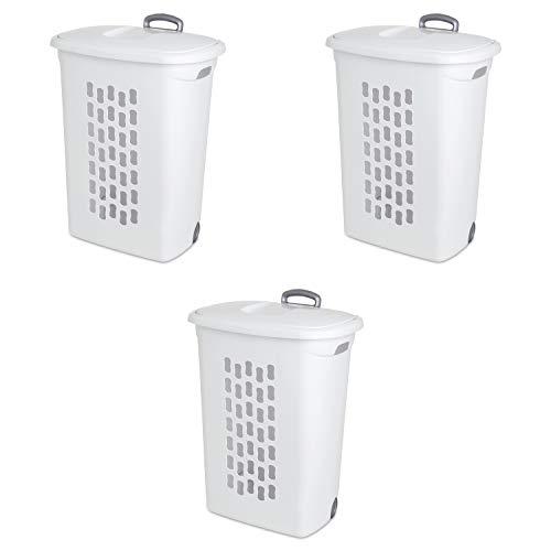 Sterilite 12228003 Ultra Wheeled Hamper White Lid Base w Plastic Handle Wheels 3-Pack