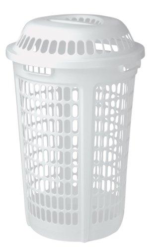 United Solutions LN0009 White Plastic Two Bushel Laundry Hamper with Lid - 2 Bushel Laundry Hamper and Lid in White