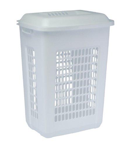 United Solutions LN0033 Rectangular Two Bushel White Laundry Hamper with Lid-2 Bushel Capacity Hamper and Lid in White