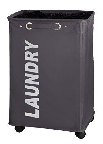 WENKO 3450112100 Laundry bin Quadro Grey - laundry basket capacity 2087 gal Polyester 157 x 236 x 13 inch Dark grey by WENKO