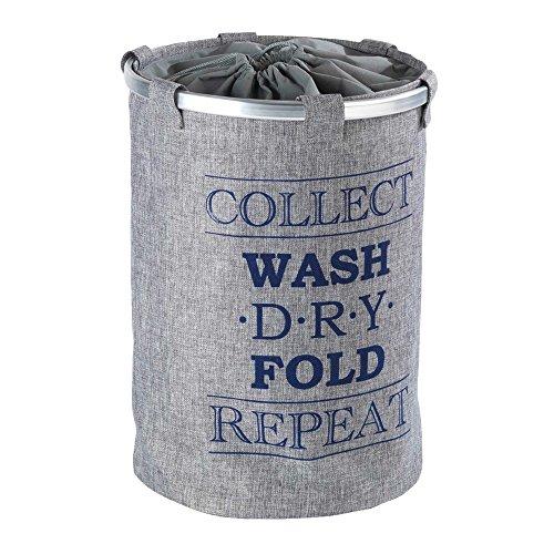 Wenko 62088100 68 L Capacity Bin Ringo Grey Laundry Basket