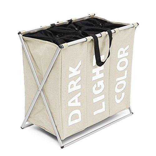 XMCOWAYOU 3 Section Laundry Basket Bag Foldable Laundry Hamper With Alloy Frame Grey