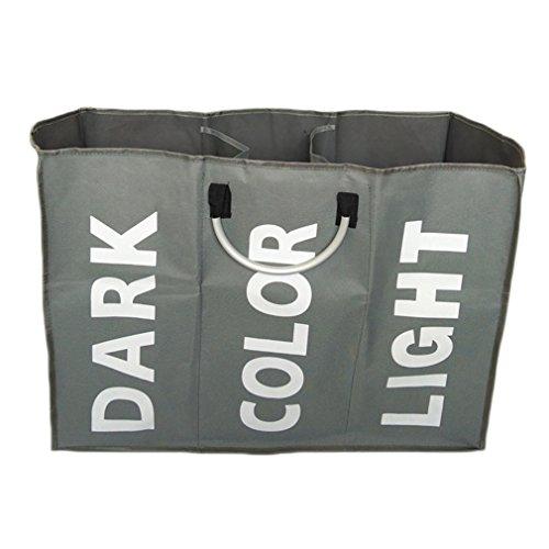 XMCOWAYOU 3 Section Laundry Basket Bag Foldable Laundry Hamper With Handles Grey
