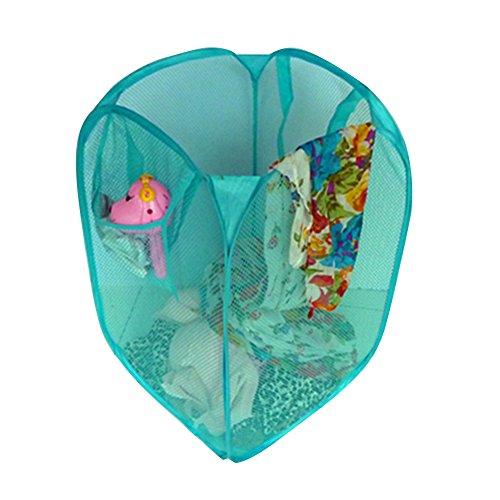 Mary Paxton12 2 Pack Pop Up Foldable Laundry Basket Mesh Hamper Washing Clothes Bag Storage Basket Blue