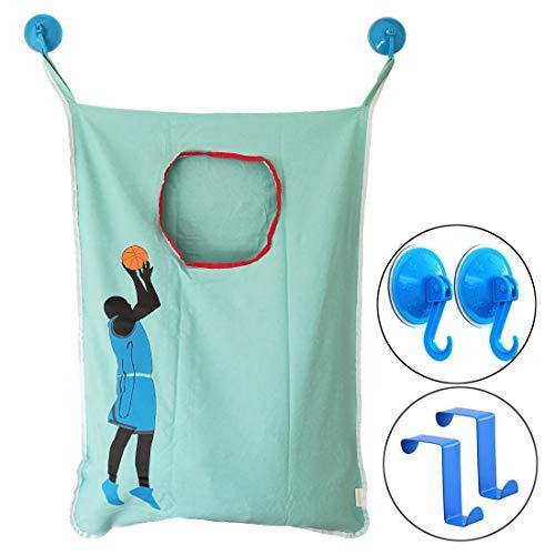 HAMRAY Door Hanging Laundry Bag Over Door Dirty Clothes Hanging Hamper with Basketball Hoop Shooting Design with Door Hooks Fit for Bathroom Bedroom Closet Travel - Blue Turquoise Black - 5 Piece Pack