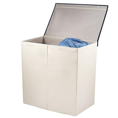 Sagnizer Double Laundry Basket Folding Laundry Hamper Ivory Laundry sorter