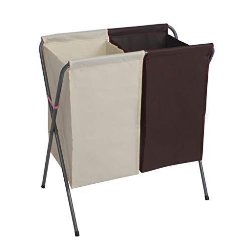 XXHDEE Foldable Laundry Basket Double Basket Storage Basket Bathroom Pink Waterproof Basket 56x36x61cm Dirty Hamper