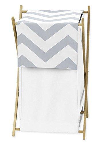 ChildrensKids Clothes Laundry Hamper for Gray and White Chevron Zig Zag Bedding
