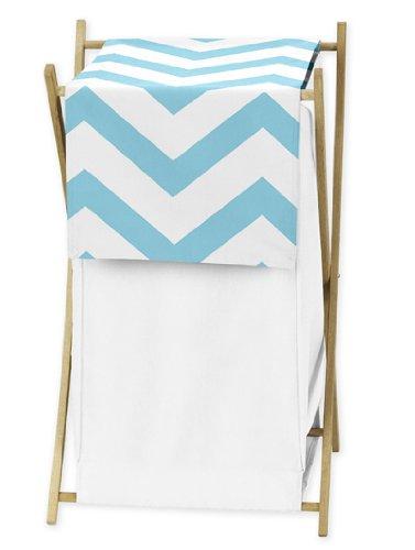 ChildrensKids Clothes Laundry Hamper for Turquoise and White Chevron Zig Zag Bedding