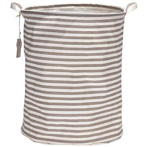 Sea Team 197 Large Sized Waterproof Coating Ramie Cotton Fabric Folding Laundry Hamper Bucket Cylindric Burlap Canvas Storage Basket with Stylish Grey White Stripe Design