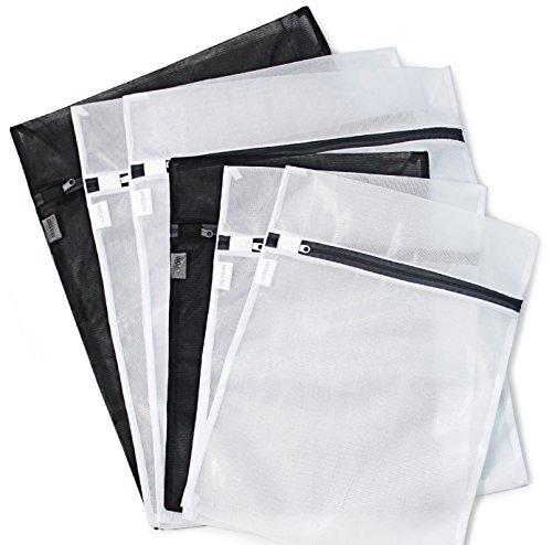 6 Pack 3 Medium 3 Large - HOPDAY Delicates Mesh Laundry Bag Bra Lingerie Drying Wash Bag  Black White with Zipper