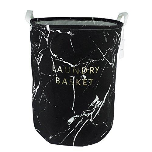 197 Large Sized Waterproof Coating Ramie Cotton Fabric Folding Laundry Hamper Bucket Cylindric Burlap Canvas Storage Basket with Stylish Marbling Design Black