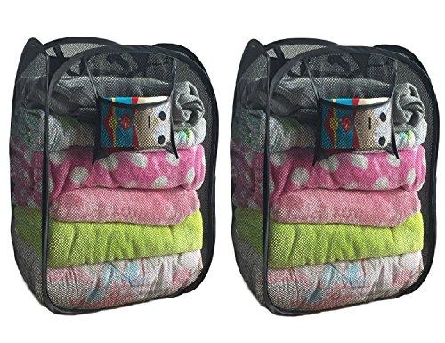 2-pack Foldable Pop-up Mesh Hamper Laundry Hamper with Reinforced Carry Handles Black