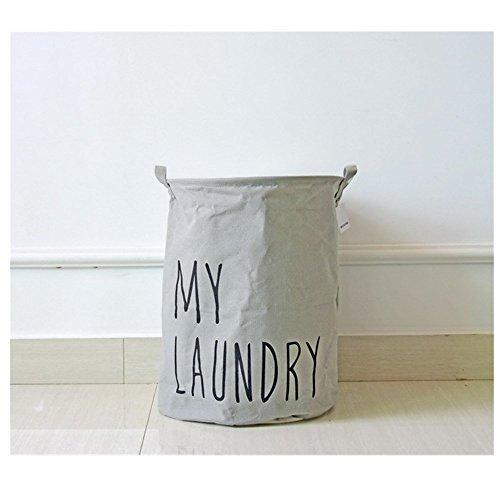 Cotton Linen Laundry Hamper Foldable with Lid Laundry Basket Hamper for Laundry Round Storage Basket for Nursery Toys Clothing black
