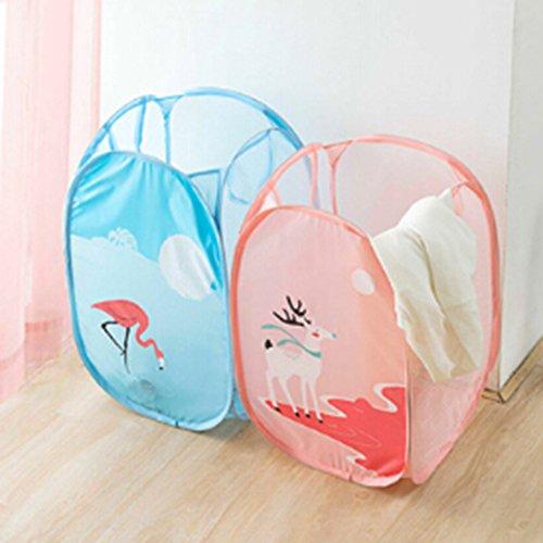 Laundry Basket Windspeed 2 pcs Cute Cartoon Mesh Pop-Up Collapsible Laundry Hamper Laundry storage Organizer Style 2