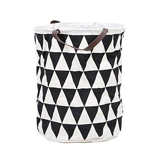 Seluna Canvas Laundry Basket Folding Clothes Storage Bag Dia157 x H197 35x45cm