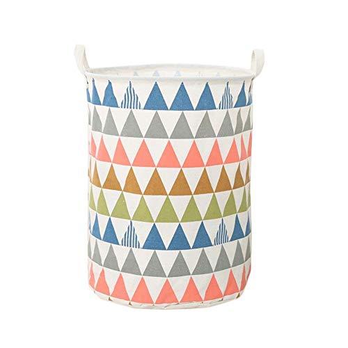 Daliuing Triangle Lattice Pattern Laundry Hamper Canvas Fabric Laundry Basket Collapsible Storage Bin