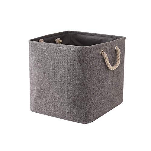 Guozi Foldable Cotton Rope Storage Bins - Square Fabric Laundry Basket with Handles - Sundries Storage Box - 13×13×13 inches Gray