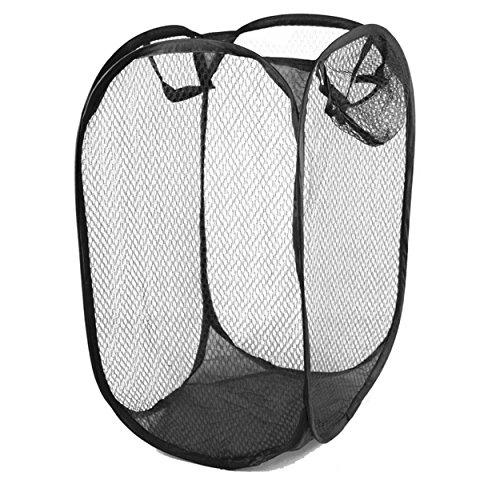 Adorox Pop Up Easy Open Mesh Laundry Clothes Hamper Basket Lightweight Compact Black 1 Hamper