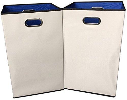 Sodynee 2-Pack 23 Closet Folding Laundry Clothes Hamper Sorter Basket BinBeige with Blue Interior