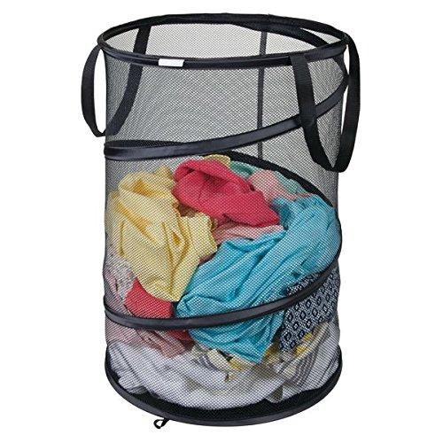 mDesign Mesh Pop-Up Collapsible Laundry Clothes Hamper Basket - Black
