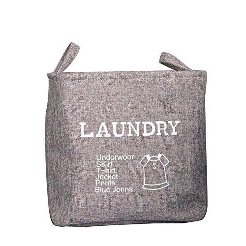 S Kaiko Cotton Linen Foldable Collapsible Laundry Hamper Laundry Bin Laundry Basket Storage Bin Toy Kid Clothing Storage Organizer with Handle Nursery Hamper Grey