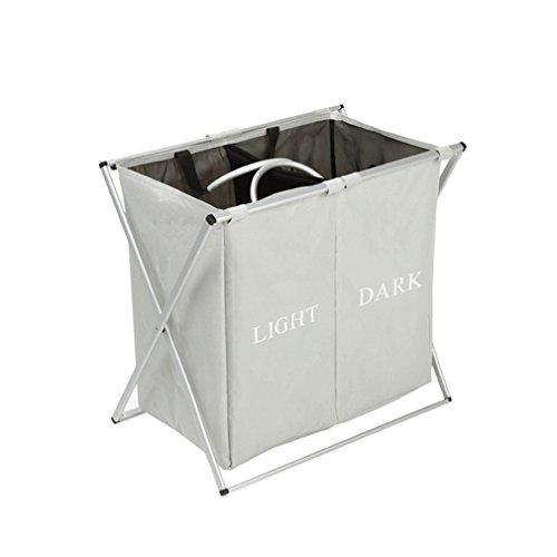 XMCOWAYOU Double Laundry Basket Bag Foldable Laundry Hamper With Alloy Frame Grey
